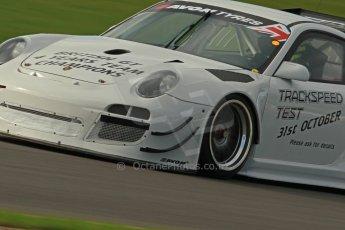 World © Octane Photographic Ltd. Donington Park unsilenced testing, 10th October 2013. Trackspeed test car, Porsche 997 GT3 R, British GT Championship. Digital Ref :
