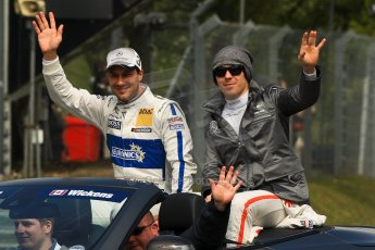 World © Octane Photographic Ltd. German Touring Cars (DTM) Brands Hatch Sunday 19th May 2013. Drivers' Parade. HWA Team – DTM AMG Mercedes C-Coupe – Gary Paffett and Robert Wickens. Digital Ref: