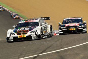 World © Octane Photographic Ltd. German Touring Cars (DTM) Brands Hatch Sunday 19th May 2013. Race. BMW Team RMG – BMW M3 DTM – Martin Tomczyk leading from Audi Sport Team Abt – Audi RS5 DTM – Timo Scheider. Digital Ref: 0688ce1d2734