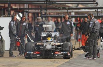 World © Octane Photographic Ltd. Formula 1 Winter testing, Barcelona – Circuit de Catalunya, 19th February 2013. Sauber C32, Esteban Gutierrez in the pits. Digital Ref: 0576cb7d8180
