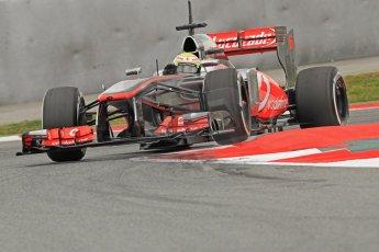 World © Octane Photographic Ltd. Formula 1 Winter testing, Barcelona – Circuit de Catalunya, 19th February 2013. Vodafone McLaren Mercedes MP4/28. Sergio Perez. Digital Ref: 0576cb7d8450