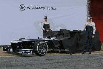 World © Octane Photographic Ltd. Formula 1 Winter testing, Barcelona – Circuit de Catalunya, 19th February 2013. Williams FW35 launch, Pastor Maldonado and Valterri Bottas. Digital Ref: 0576lw1d0950