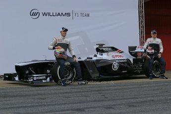 World © Octane Photographic Ltd. Formula 1 Winter testing, Barcelona – Circuit de Catalunya, 19th February 2013. Williams FW35 launch, Pastor Maldonado and Valterri Bottas. Digital Ref: 0576lw1d0986