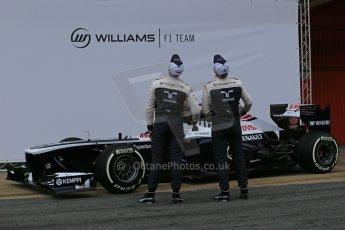 World © Octane Photographic Ltd. Formula 1 Winter testing, Barcelona – Circuit de Catalunya, 19th February 2013. Williams FW35 launch, Pastor Maldonado and Valterri Bottas. Digital Ref: 0576lw1d1036