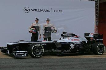 World © Octane Photographic Ltd. Formula 1 Winter testing, Barcelona – Circuit de Catalunya, 19th February 2013. Williams FW35 launch, Pastor Maldonado and Valterri Bottas. Digital Ref: 0576lw1d1038