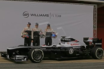 World © Octane Photographic Ltd. Formula 1 Winter testing, Barcelona – Circuit de Catalunya, 19th February 2013. Williams FW35 launch, Pastor Maldonado, Valterri Bottas and Susie Wolff. Digital Ref: 0576lw1d1065