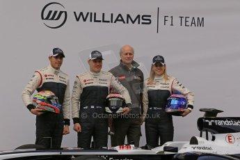 World © Octane Photographic Ltd. Formula 1 Winter testing, Barcelona – Circuit de Catalunya, 19th February 2013. Williams FW35 launch, Pastor Maldonado, Valterri Bottas and Susie Wolff. Digital Ref: 0576lw1d1069