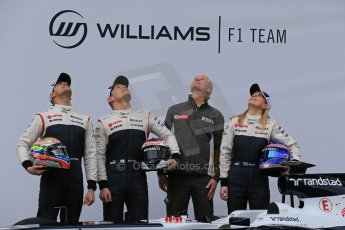 World © Octane Photographic Ltd. Formula 1 Winter testing, Barcelona – Circuit de Catalunya, 19th February 2013. Williams FW35 launch, Pastor Maldonado, Valterri Bottas and Susie Wolff. Digital Ref: 0576lw1d1078