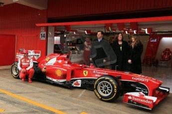 World © Octane Photographic Ltd. Formula 1 Winter testing, Barcelona – Circuit de Catalunya, 19th February 2013. Ferrari F138 – Fernando Alonso unveils the team's new UPS sponsorship. Digital Ref: 0576lw1d1119