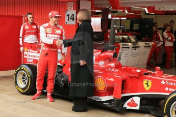 World © Octane Photographic Ltd. Formula 1 Winter testing, Barcelona – Circuit de Catalunya, 19th February 2013. Ferrari F138 – Fernando Alonso unveils the team's new UPS sponsorship. Digital Ref: 0576lw1d1144