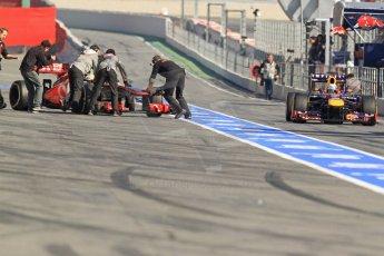 World © Octane Photographic Ltd. Formula 1 Winter testing, Barcelona – Circuit de Catalunya, 20th February 2013. Infiniti Red Bull Racing RB9, Sebastian Vettel and Vodafone McLaren Mercedes MP4/28, Sergio Perez. Digital Ref: