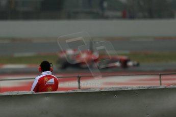 World © Octane Photographic Ltd. Formula 1 Winter testing, Barcelona – Circuit de Catalunya, 21st February 2013. Ferrari trackside watcher surveys the Ferrari F138 of Fernando Alonso at speed. Digital Ref: 0578lw1d3642