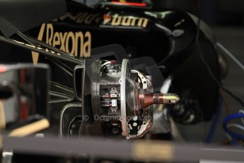 World © Octane Photographic Ltd. F1 Monaco - Monte Carlo - Pitlane. Lotus F1 Team - Lotus E21 front brake assembly. Friday 24th May 2013. Digital Ref : 0695cb7d1487