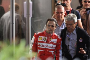 World © Octane Photographic Ltd. F1 Monaco GP, Monte Carlo - Saturday 25th May - Practice 3. Scuderia Ferrari F138 - Felipe Massa walks back towards the pits after his Ste.Devote crash. Digital Ref : 0707cb7d2432