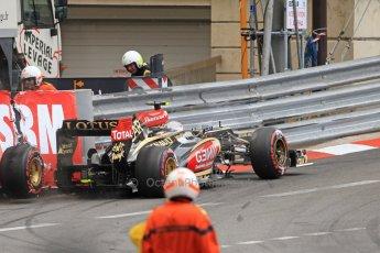 World © Octane Photographic Ltd. F1 Monaco GP, Monte Carlo - Saturday 25th May - Practice 3. Lotus F1 Team E21 - Romain Grosjean puts his car into the wall at St.Devote. Digital Ref : 0707cb7d2477