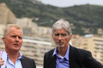World © Octane Photographic Ltd. Monaco F1 Post Qualifying - Monte Carlo. Johnny Herbert and Damon Hill. Digital Ref : 0708cb7d2536