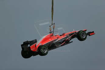 World © Octane Photographic Ltd. F1 Monaco GP, Monte Carlo - Saturday 25th May - Qualifying. Marussia F1 Team MR02 - Jules Bianchi's car is craned clear to allow qualifying to continue. Digital Ref : 0708lw1d9812