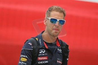 World © Octane Photographic Ltd. F1 Spanish GP - Friday 10th May 2013 paddock. Sebastian Vettel - Infinti Red Bull Racing. Digital Ref : 0658cb1d8725