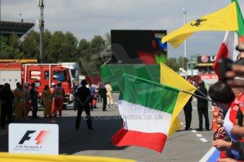 World © 2013 Octane Photographic Ltd. F1 Spanish GP, Circuit de Catalunya - Sunday 12th May 2013 - Race. Waiting for Ferrari team mates to come into Parc Ferme . Digital Ref : 0674cb1d2686