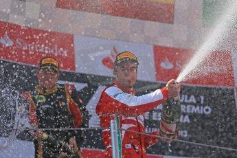 World © 2013 Octane Photographic Ltd. F1 Spanish GP, Circuit de Catalunya - Sunday 12th May 2013 - Race. Scuderia Ferrari - Fernando Alonso with Kimi Raikkonen. Digital Ref : 0674cb1d3042