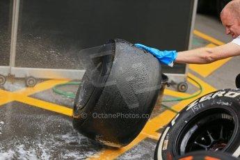 World © Octane Photographic Ltd. F1 Spanish GP, Circuit de Catalunya, Friday 10th May 2013, Vodafone McLaren Mercedes Pirelli tyre washing. Practice 2. Digital Ref : 0661cb1d9965