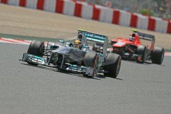 World © Octane Photographic Ltd. F1 Spanish GP, Circuit de Catalunya, Friday 10th May 2013. Practice 2. Mercedes - Lewis Hamilton and Marussia - Max Chilton. Digital Ref : 0661cb1d9495