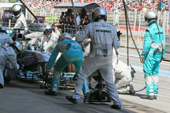 World © 2013 Octane Photographic Ltd. F1 Spanish GP, Circuit de Catalunya - Sunday 12th May 2013 - Race. Mercedes W04 - Nico Rosberg pit stop. Digital Ref : 0673cb1d2664