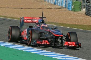 World © Octane Photographic Ltd. Formula 1 Winter testing, Jerez, 7th February 2013. Vodafone McLaren Mercedes MP4/28, Jenson Button. Digital Ref: 0573lw1d9439