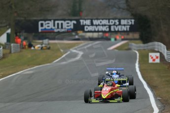 World © Octane Photographic Ltd. F3 Cup – Oulton Park - Race 1, Monday 1st April 2013. Tristan Cliffe – Omicron Motorsport - Dallara F307 and Robbie Watts – Raw Power Motorsport - Dallara F306. Digital Ref
