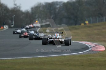 World © Octane Photographic Ltd. F3 Cup – Oulton Park, Monday 1st April 2013 – Race 2. Stuart Wiltshire – Mark Bailey Racing - Dallara F306 behind the safety car. Digital Ref : 0626lw1d0224