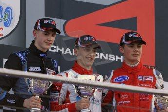 World © Octane Photographic Ltd. BRDC Formula 4 (F4) Race 1, Donington Park 28th September 2013. MSVF4-13, Jake Dalton, Seb Morris and Matthew (Matty) Graham on the podium. Digital Ref : 0833lw1d9887