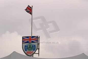 World © Octane Photographic Ltd. BRDC Formula 4 (F4) Championship, Silverstone, April 27th 2013. BRDC Silverston clubhouse flag. Digital Ref : 0642cb7d9317