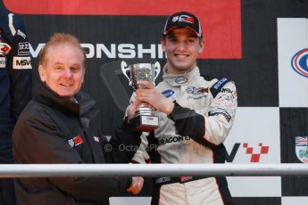 World © Octane Photographic Ltd. Brands Hatch, BRDC Formula 4 Winter Series Championship presentation, Sunday 24th November 2013. Jonathan Palmer and Sennan Fielding (3rd) – HHC Motorsport. Digital Ref : 0869cb1d8090
