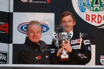 World © Octane Photographic Ltd. Brands Hatch, Championship presentation, Sunday 24th November 2013. Jonathan Palmer and BRDC Formula 4 Winter Series runner up Jack Cook – Hillspeed. Digital Ref : 0869cb1d8099