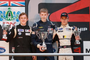 World © Octane Photographic Ltd. Brands Hatch, Championship presentation, Sunday 24th November 2013. BRDC Formula 4 Winter Series champion Matthew (Matty) Graham – Douglas Motorsport, Jack Cook (2nd) – Hillspeed, and Sennan Fielding (3rd) – HHC Motorsport. Digital Ref : 0869cb1d8143
