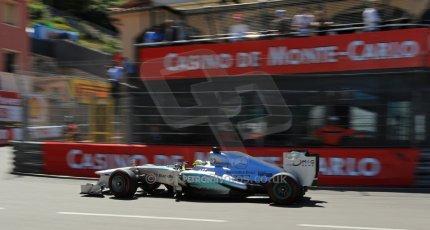World © 2013 Octane Photographic Ltd. F1 Monaco GP, Monte Carlo -Thursday 23rd May 2013 - Practice 2. Mercedes AMG Petronas F1 W04 - Nico Rosberg. Digital Ref : 0694lw1d8142