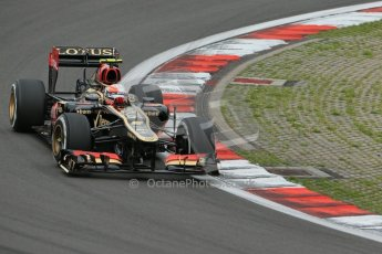 World © Octane Photographic Ltd. F1 German GP - Nurburgring. Friday 5th July 2013 - Practice One. Lotus F1 Team E21 - Romain Grosjean. Digital Ref : 0739lw1d3573