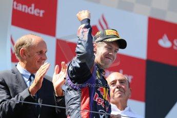World © Octane Photographic Ltd. F1 German GP - Nurburgring. Sunday 7th July 2013 - Podium. Infiniti Red Bull Racing - Race Winner Sebastian Vettel. Digital Ref : 0750au8i0310