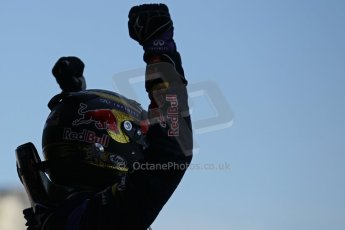 World © Octane Photographic Ltd. F1 German GP - Nurburgring. Sunday 7th July 2013 - Parc Ferme. Infiniti Red Bull Racing - Race Winner Sebastian Vettel. Digital Ref : 0750lw1d5345