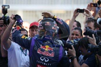 World © Octane Photographic Ltd. F1 German GP - Nurburgring. Sunday 7th July 2013 - Parc Ferme. Infiniti Red Bull Racing - Race Winner Sebastian Vettel. Digital Ref : 0750lw1d5367