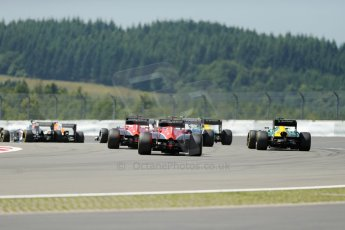World © Octane Photographic Ltd. F1 German GP - Nurburgring. Sunday 7th July 2013 - Race. The tail end pack scrap, Williams sandwiched between Caterham and Marussia. Digital Ref : 0749lw1dx9371