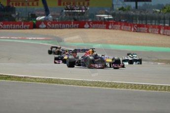 World © Octane Photographic Ltd. F1 German GP - Nurburgring. Sunday 7th July 2013 - Race. Infiniti Red Bull Racing RB9 - Sebastian Vettel and Mark Webber pull away from Lewis Hamilton's Mercedes. Digital Ref : 0749lw1dx9381