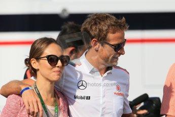 World © Octane Photographic Ltd. F1 German GP - Nurburgring. Saturday 6th July 2013 - Practice three paddock. Vodafone McLaren Mercedes - Jenson Button and Jessica Michibata. Digital Ref : 0744lw1d5726