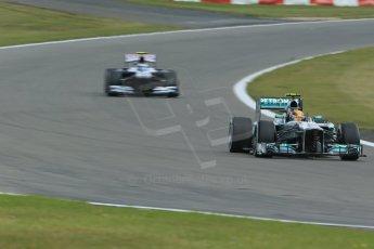 World © Octane Photographic Ltd. F1 German GP - Nurburgring. Saturday 6th July 2013 - Practice three. Mercedes AMG Petronas F1 W04 – Lewis Hamilton and Williams FW35 - Valtteri Bottas. Digital Ref : 0744lw1d6124