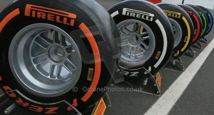 World © Octane Photographic Ltd. F1 German GP - Nurburgring. Thursday 4th July 2013 - Paddock. Pirelli tires. Digital Ref : 0737lw1d2788