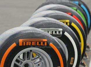 World © Octane Photographic Ltd. F1 German GP - Nurburgring. Thursday 4th July 2013 - Paddock. Pirelli tires. Digital Ref : 0737lw1d2990