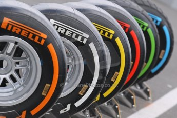 World © Octane Photographic Ltd. F1 German GP - Nurburgring. Thursday 4th July 2013 - Paddock. Pirelli tires. Digital Ref : 0737lw1d2992