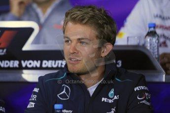 World © Octane Photographic Ltd. F1 German GP - Nurburgring. Thursday 4th July 2013 - Press Conference. Mercedes AMG Petronas F1 W04 - Nico Rosberg. Digital Ref : 0738lw1d2884