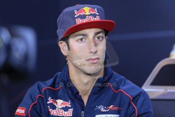 World © Octane Photographic Ltd. F1 German GP - Nurburgring. Thursday 4th July 2013 - Press Conference. Scuderia Toro Rosso STR 8 - Daniel Ricciardo. Digital Ref : 0738lw1d2915