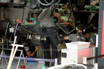 World © Octane Photographic Ltd. F1 British GP - Silverstone, Friday 28th June 2013 - Practice 1. Mercedes AMG Petronas F1 W04 Garage. Digital Ref : 0724ce1d6629